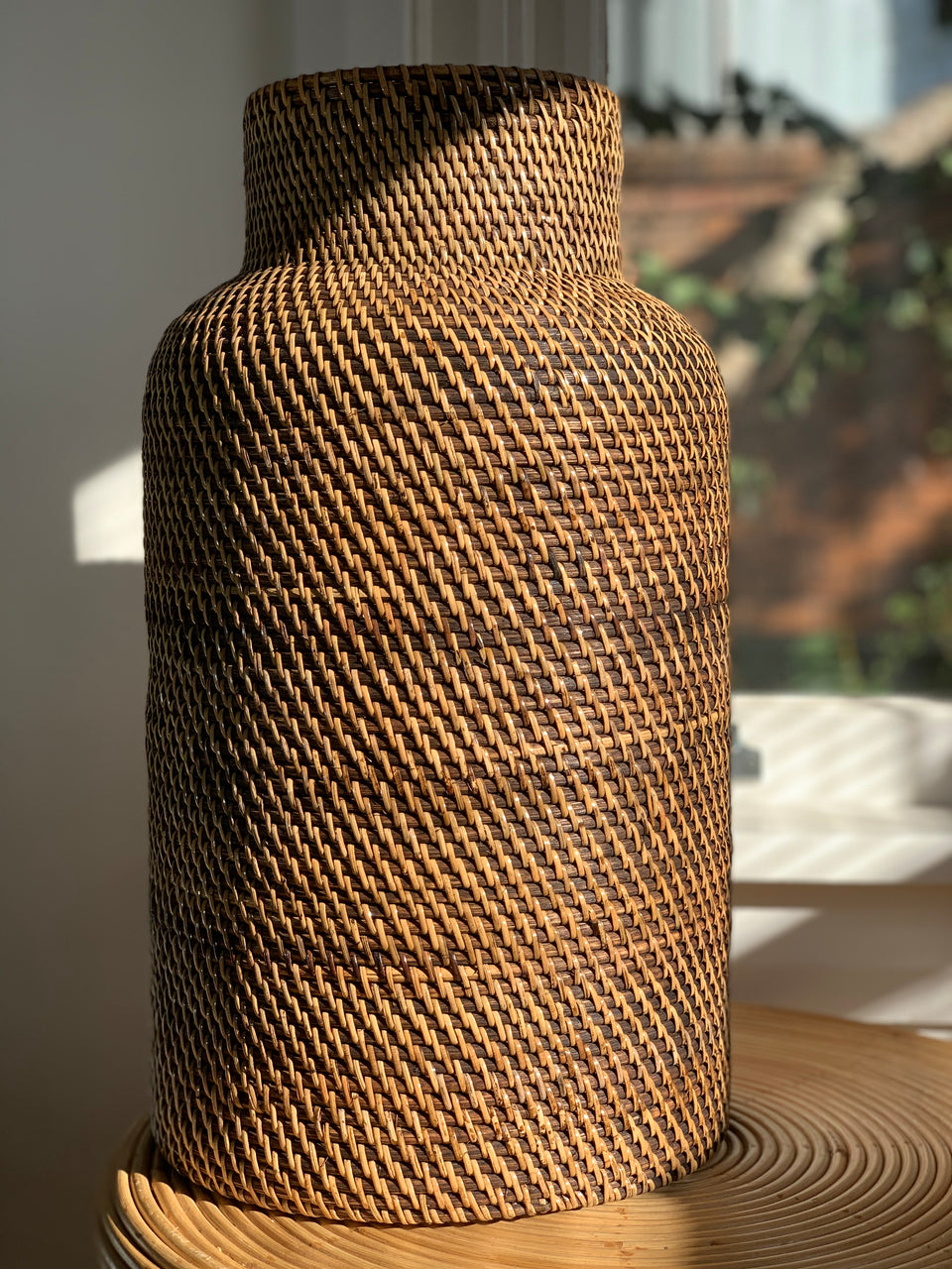 Rattan Vase / Umbrella Holder - Antiqued Rattan