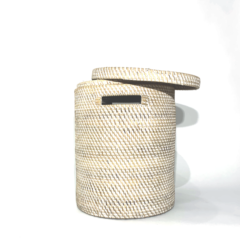Laundry Basket with Lid - White Wash Rattan