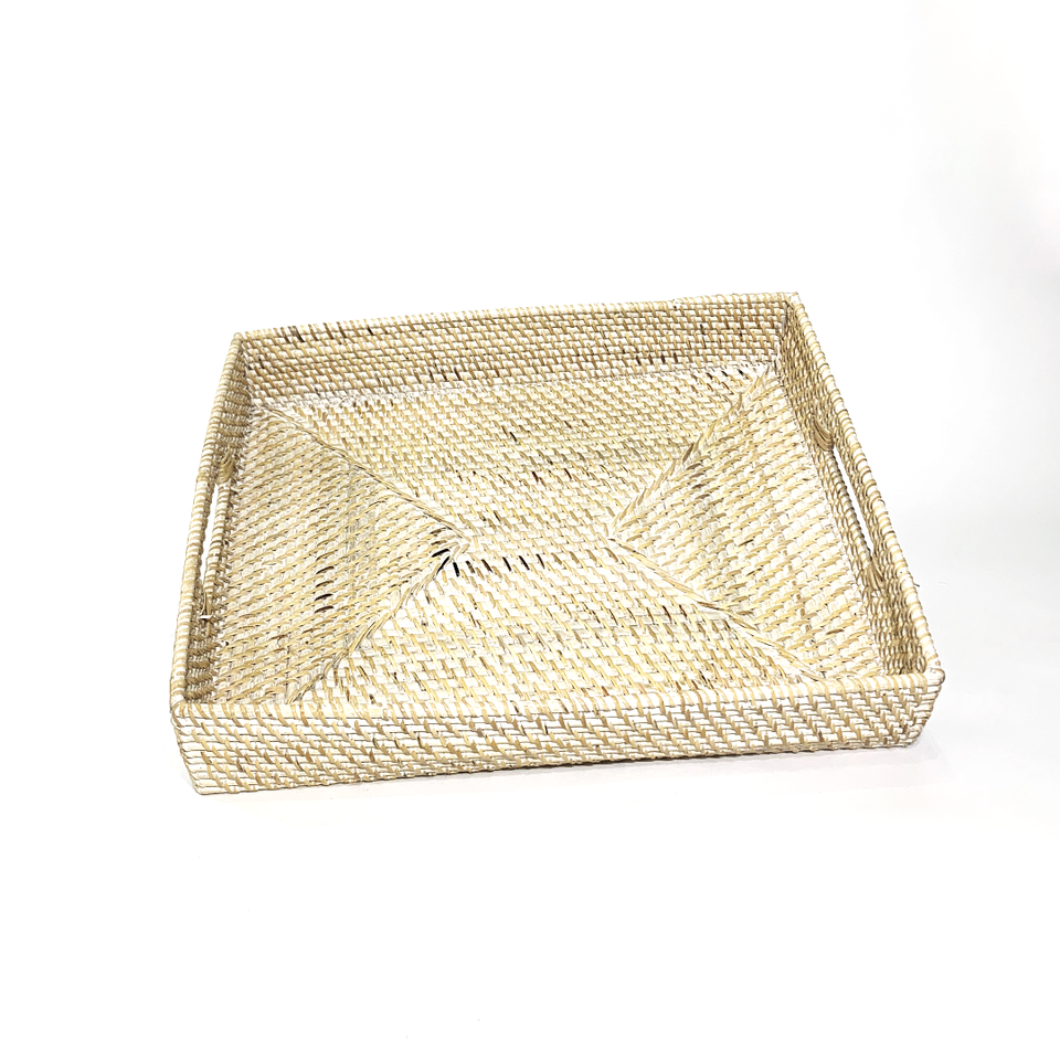 Rectangular Tray - White Wash Rattan