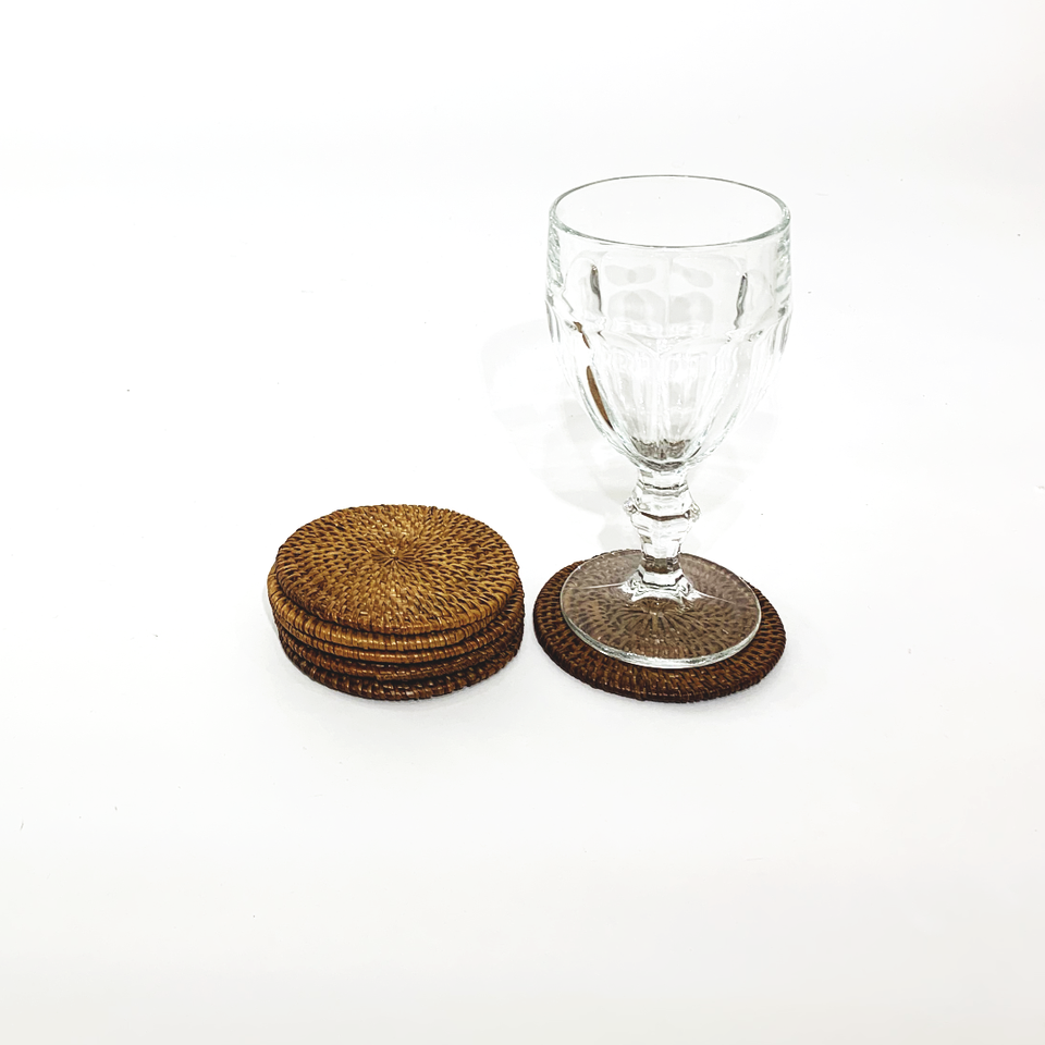 Coasters - set of 6 - Smoked Rattan