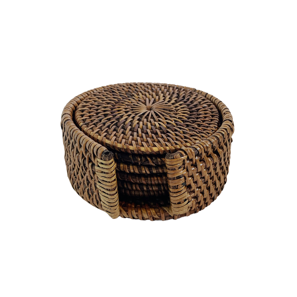 Coasters - Set of 6 - Antiqued Rattan