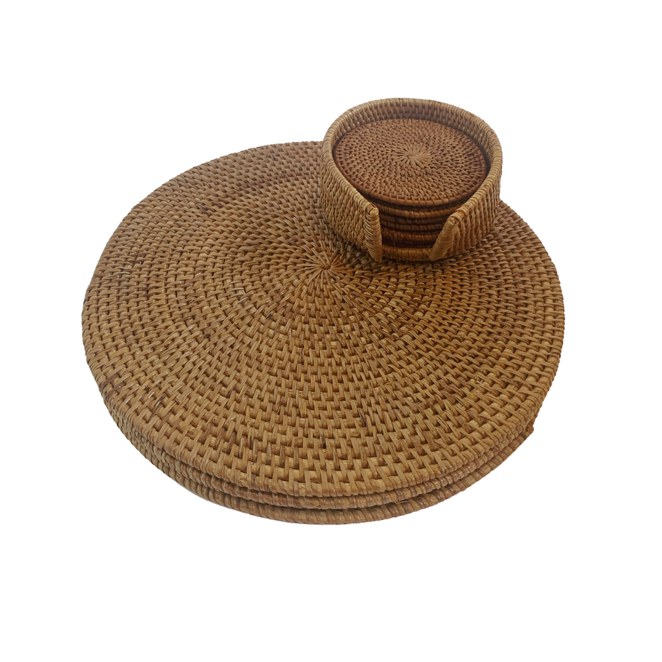 Rattan Placemats Round - Natural