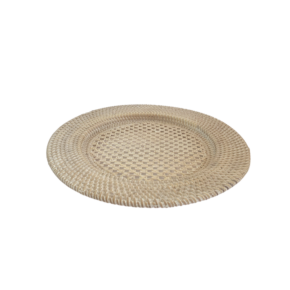 Plate Charger - White Wash Rattan