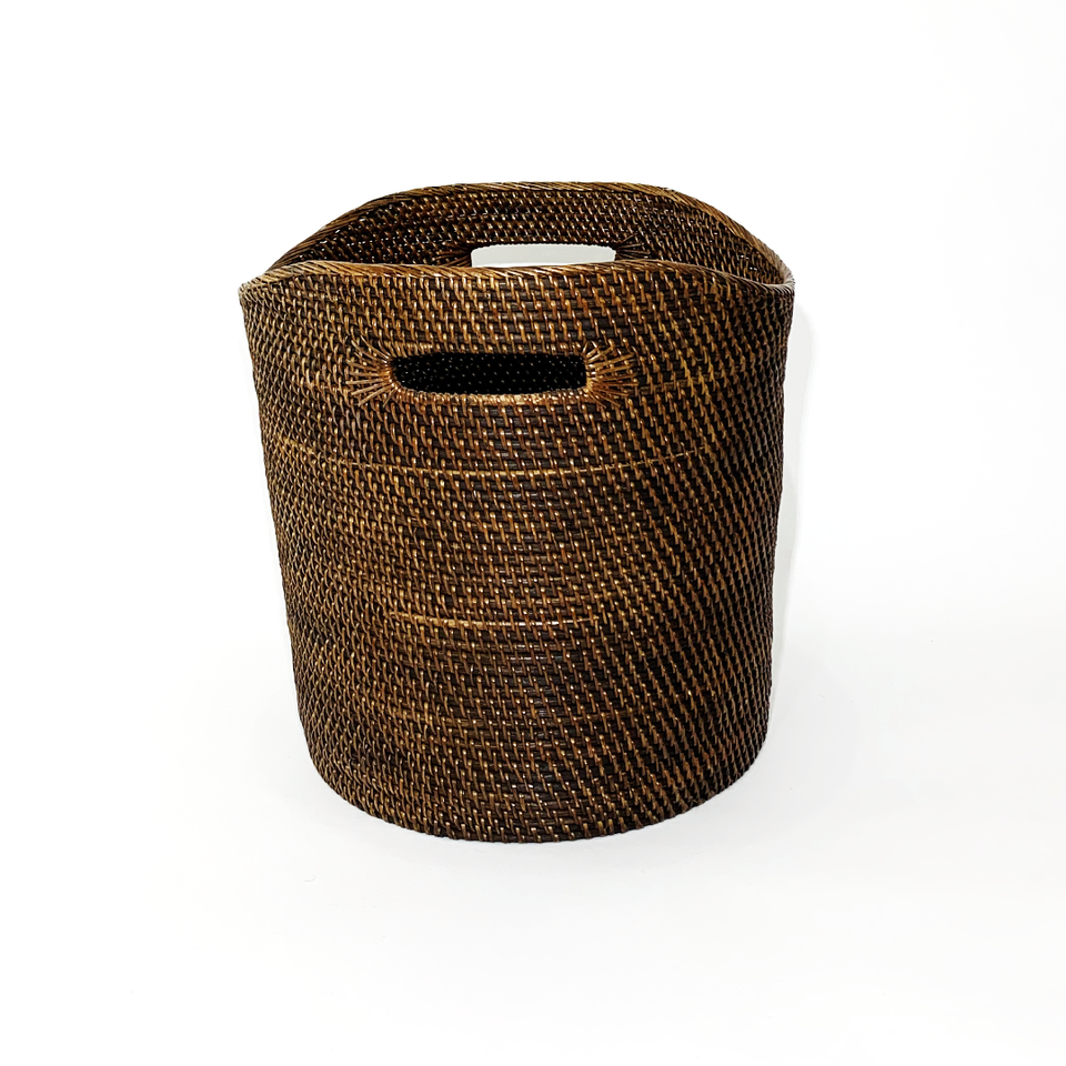 Laundry Basket with Curved Lip - Double Smoked Rattan