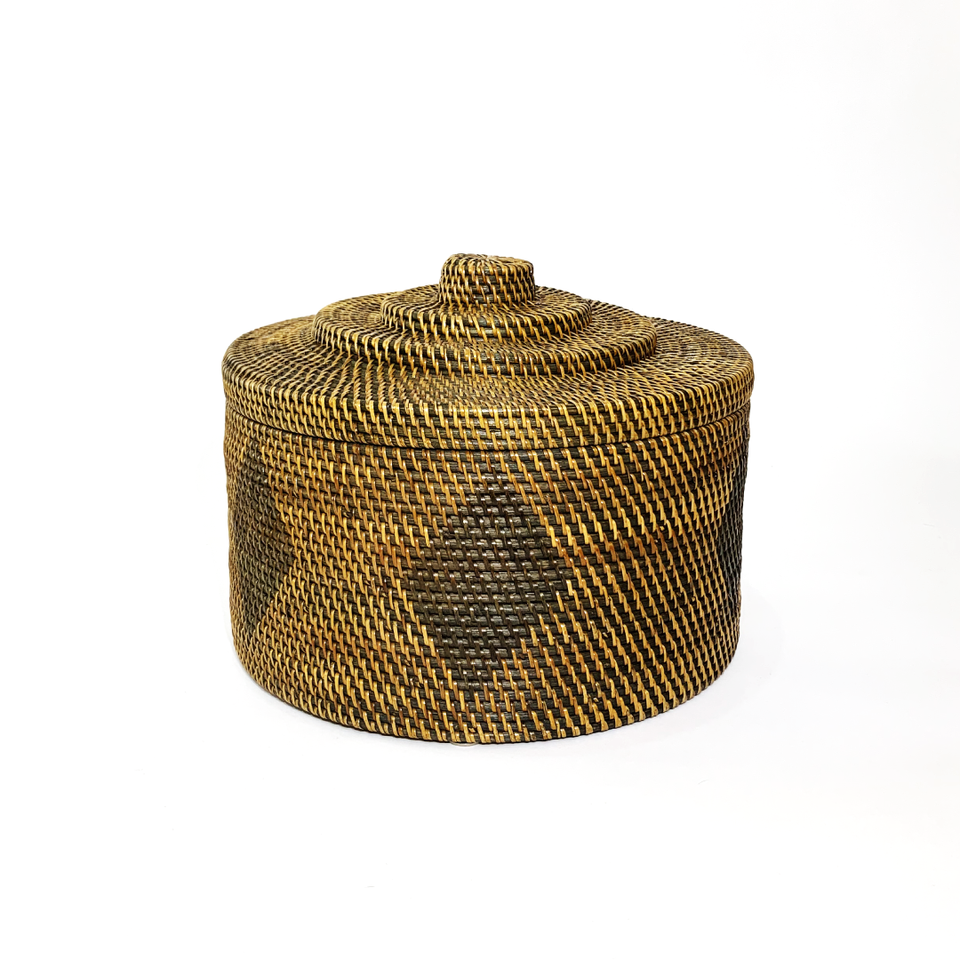 Round Decorative Basket with Tiered Lid - Antiqued Rattan
