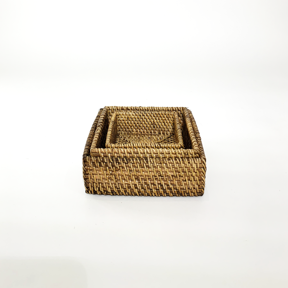 Nesting Trays set of 3 - Antiqued Rattan