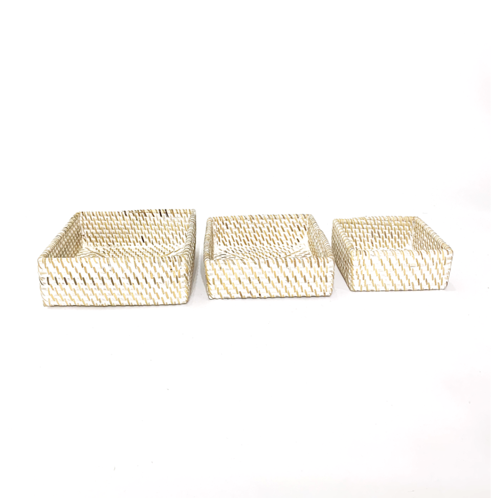 Nesting Trays set of 3 - White Wash Rattan