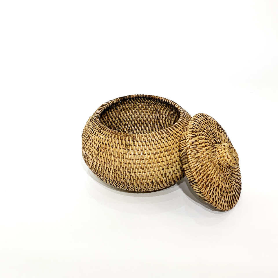 Oblate Spheroid Storage Container - Antiqued Rattan