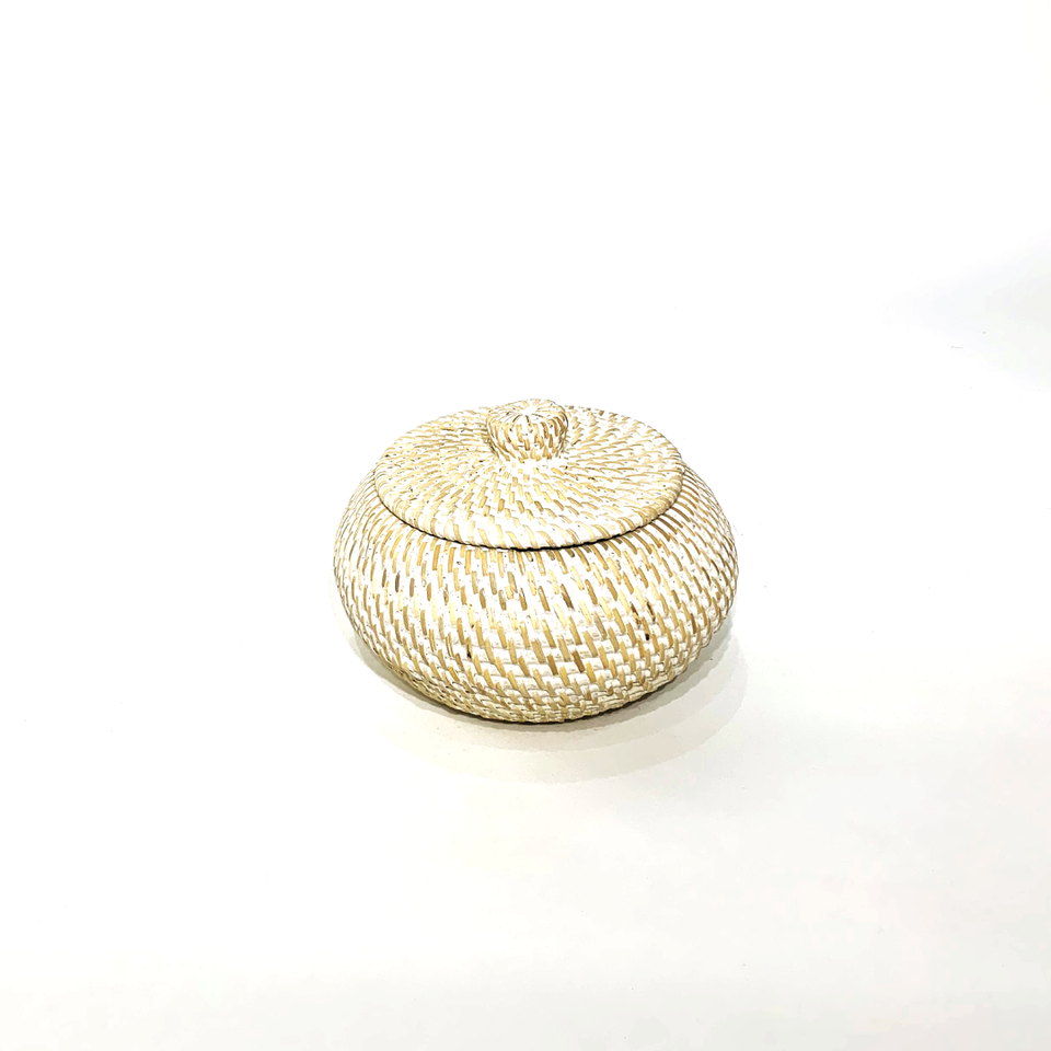 Oblate Spheroid Storage Container - White Wash Rattan