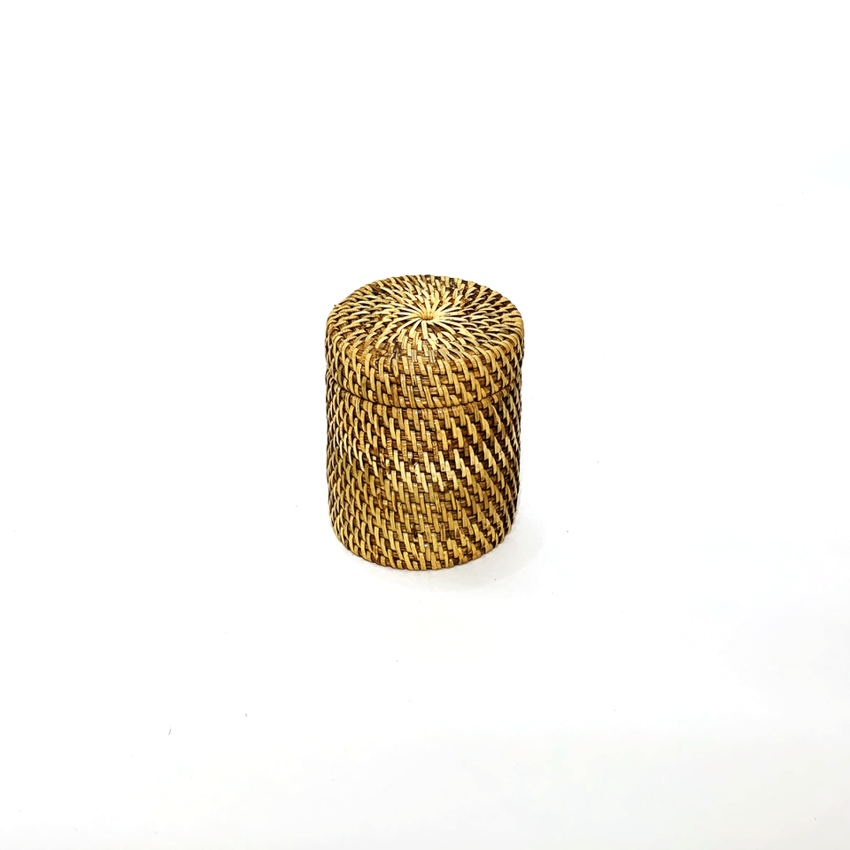 Round Storage Canister - Antiqued Rattan