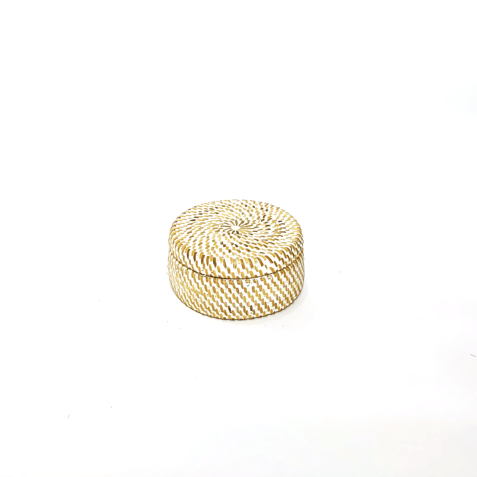 Flat Round Storage Container - White Wash Rattan