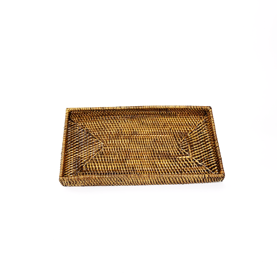 Narrow Rectangular Tray - Antiqued Rattan