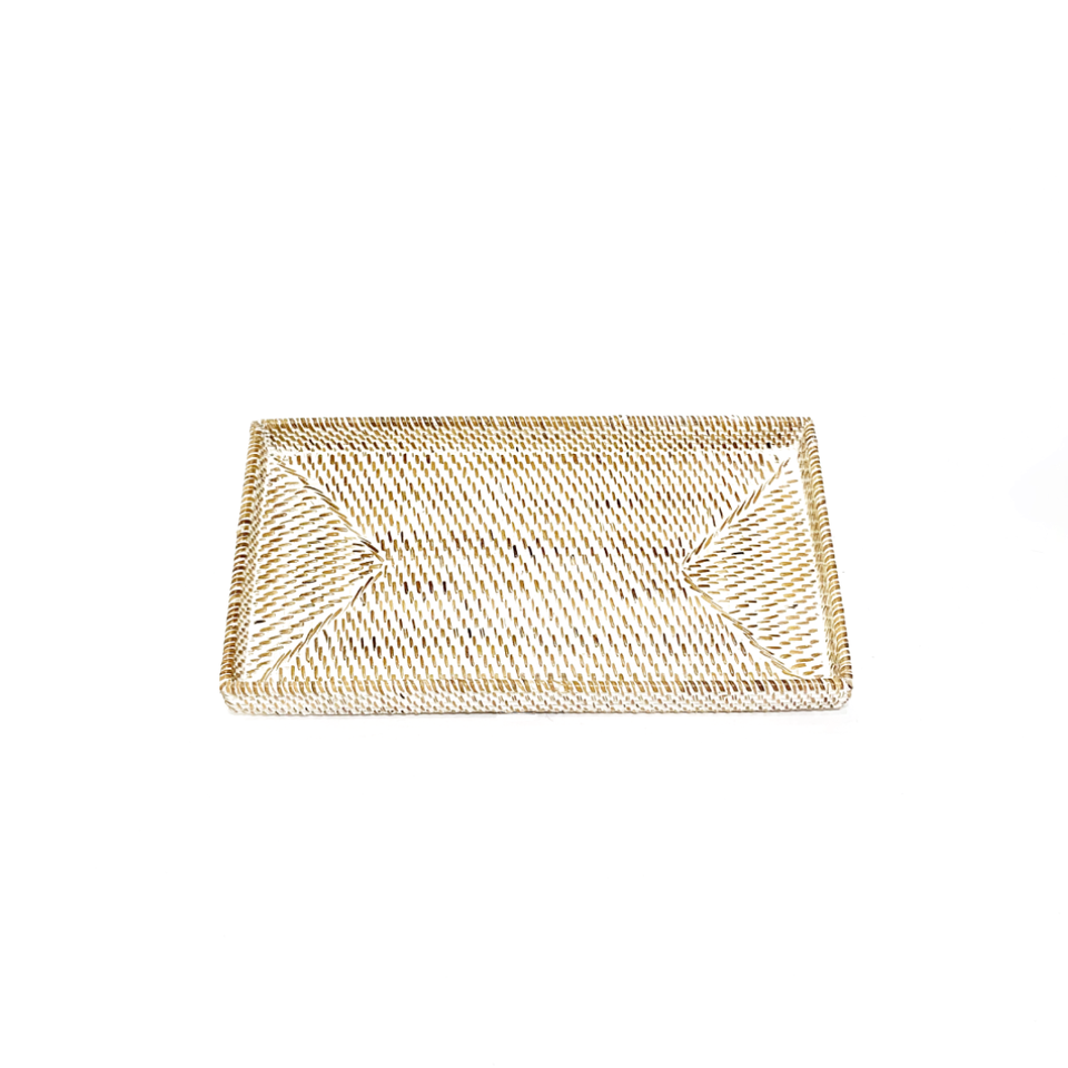 Narrow Rectangular Tray - White Wash Rattan