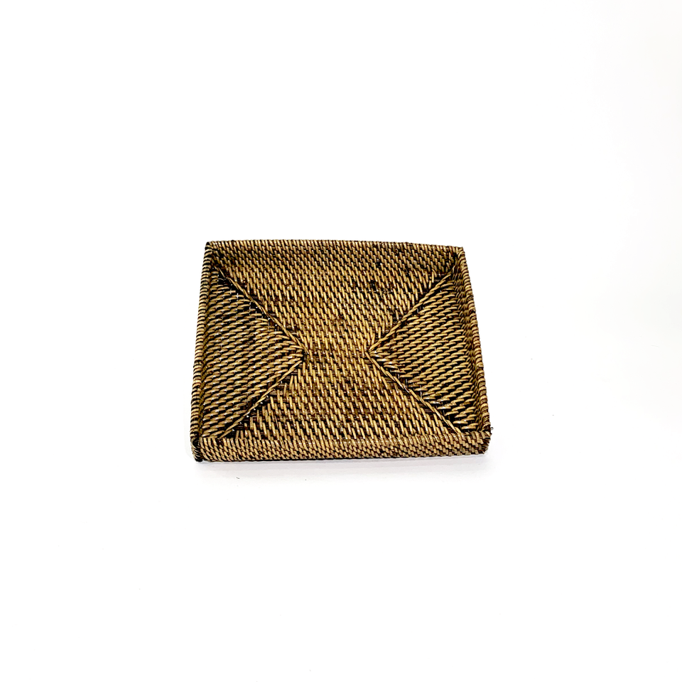 Small Rectangle Tray - Antiqued Rattan