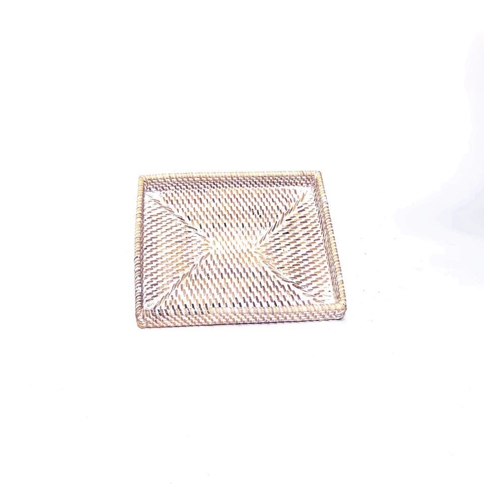 Small Rectangle Tray - White Wash Rattan