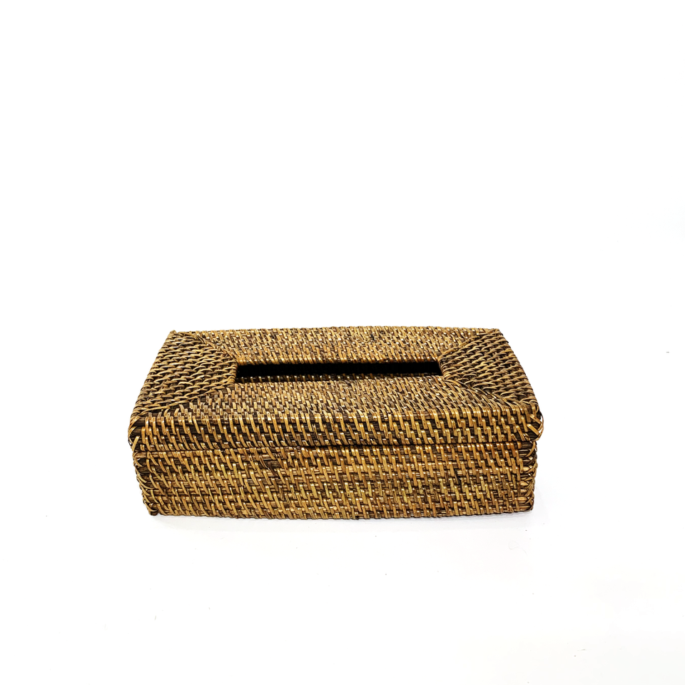 Tissue Box - Rectangle - Antiqued Rattan