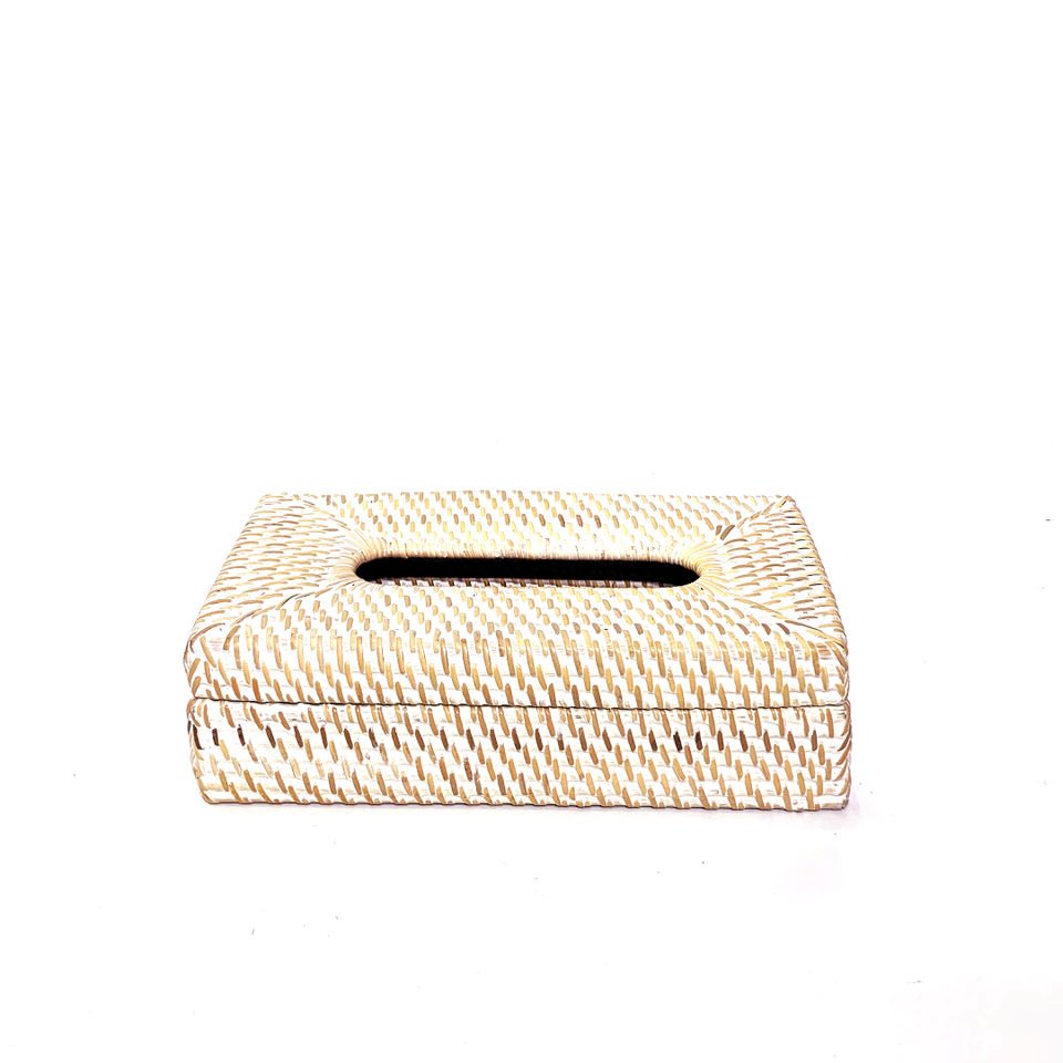 Tissue Box - Rectangle - White Wash Rattan