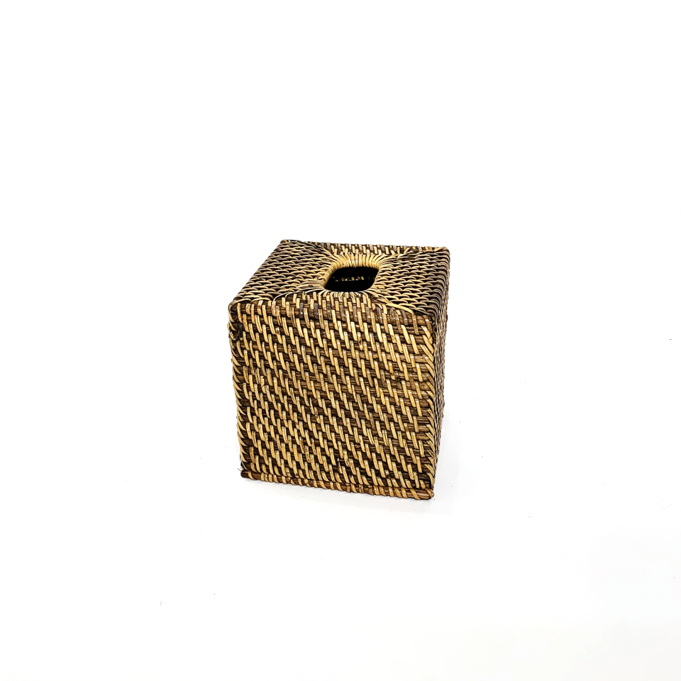 Tissue Box - Square - Antiqued Rattan