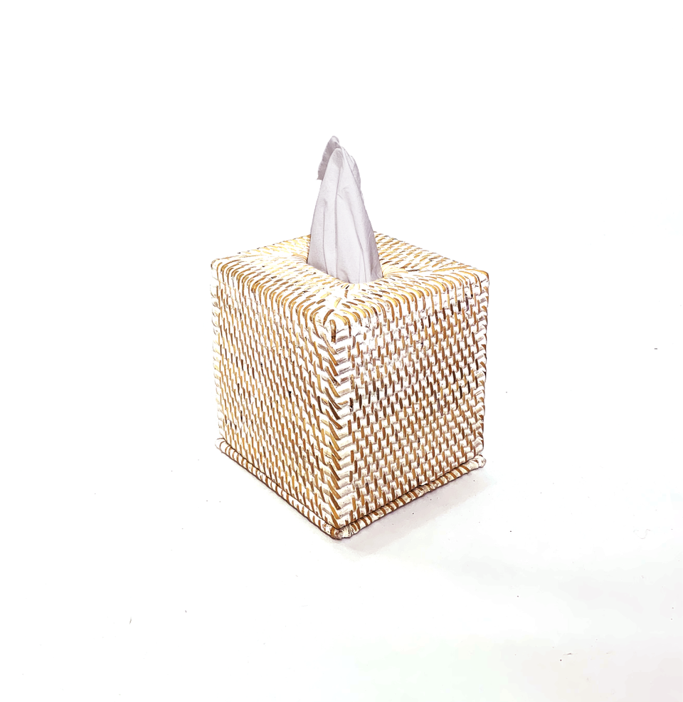 Tissue Box - Square - White Wash Rattan