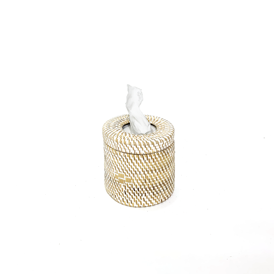 Toilet Roll Holder - White Wash Rattan