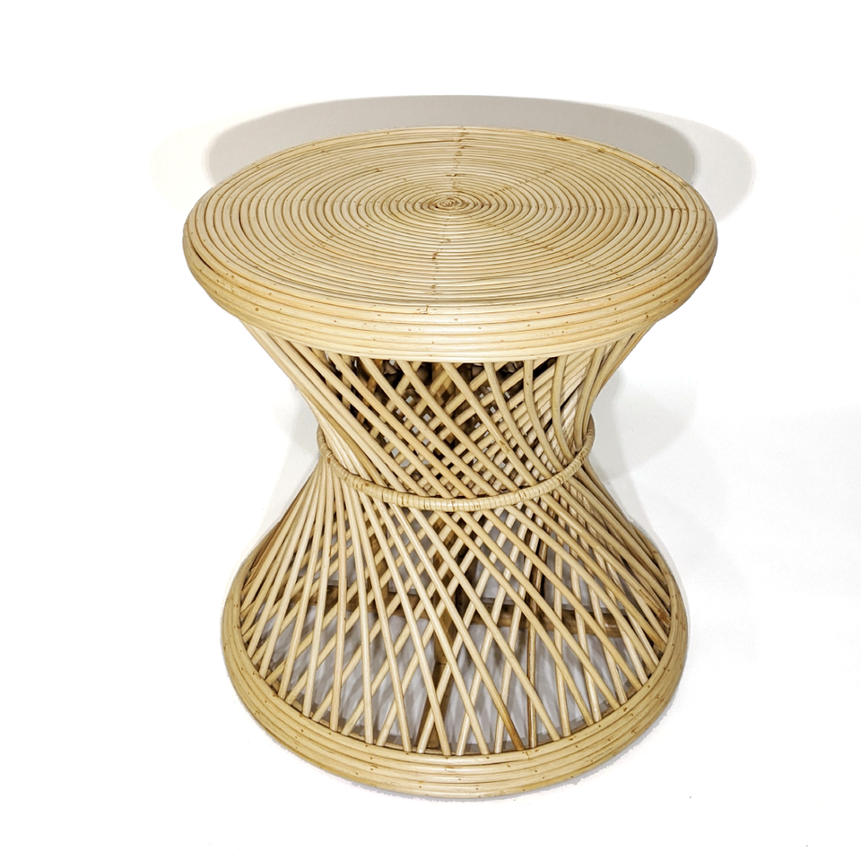 Spiral Side Table - Polished Rattan