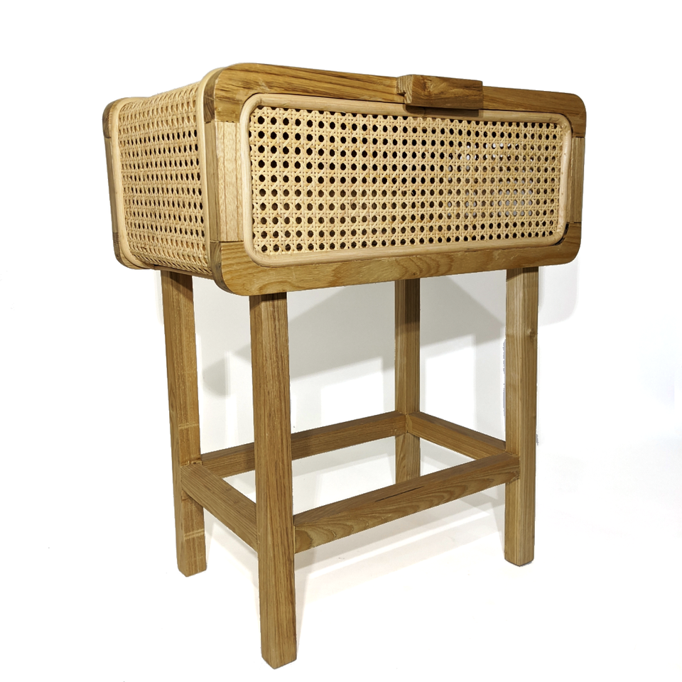 Bedside Table - Rattan Weave and Bingkerai