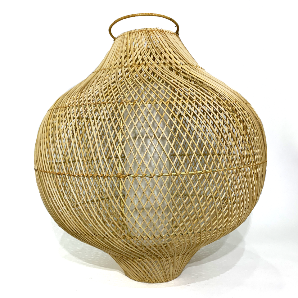 Lampshade with Spiral Design - Natural Rattan