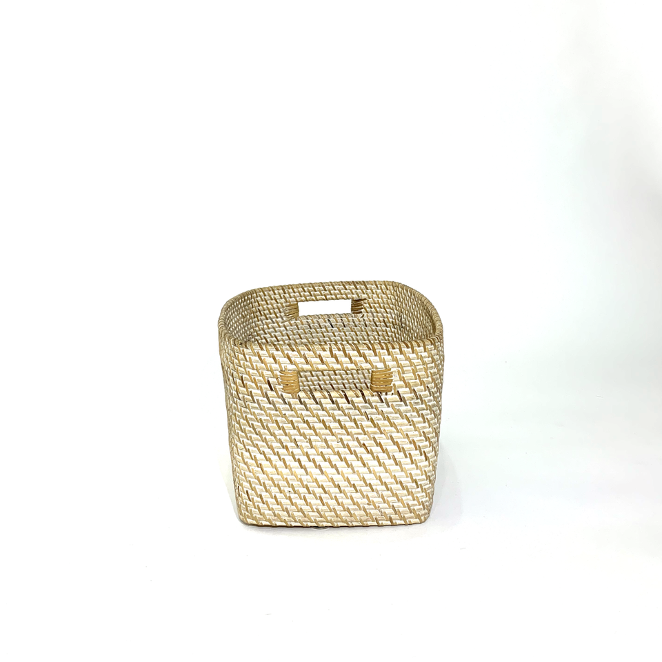 Storage Basket - White Wash Rattan