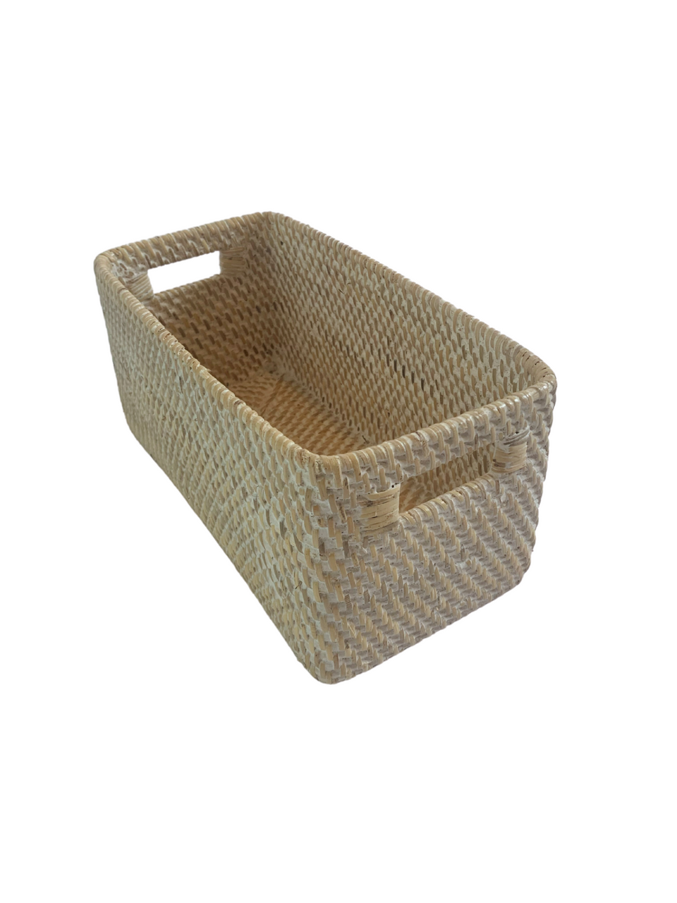 Storage Basket - Small - White Wash Rattan