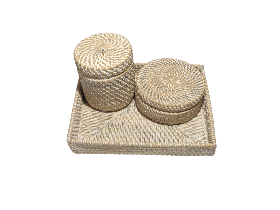 Bathroom Bundle - White Wash Rattan