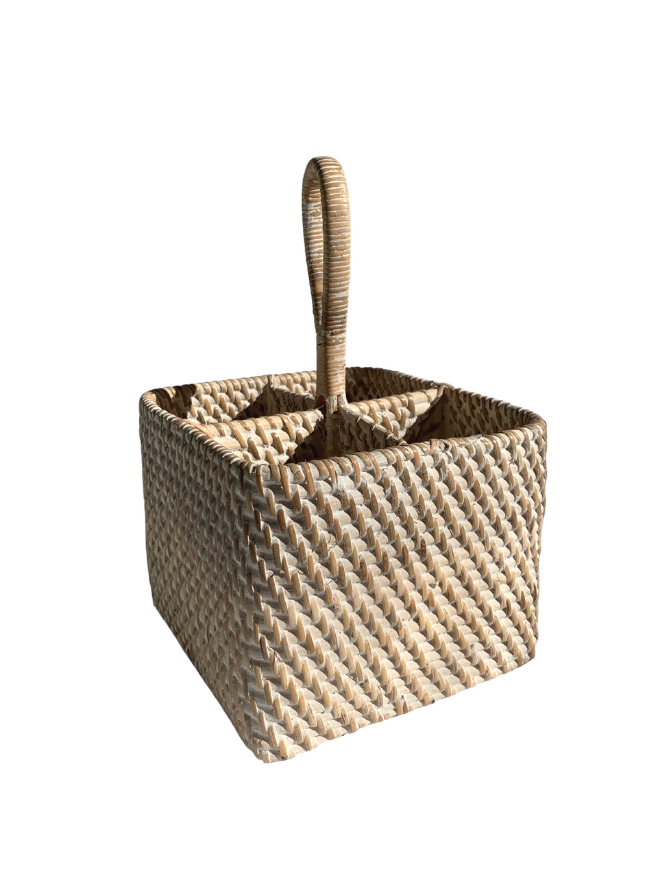 Cutlery Caddy - White Wash Rattan