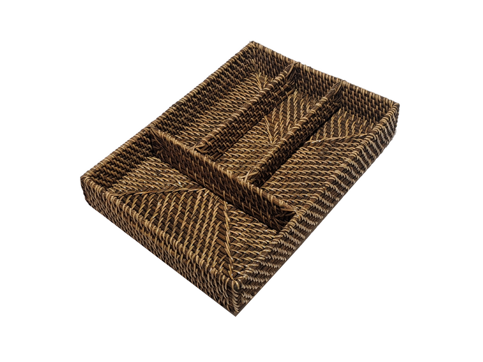 Cutlery Tray - Antiqued Rattan