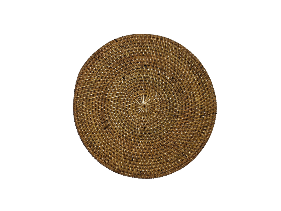 Placemats Round - Antiqued Rattan