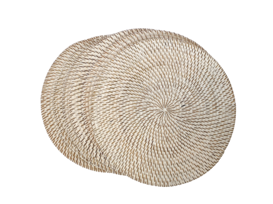 Placemats Round - White Wash