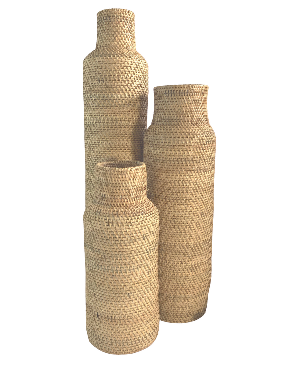 Basket Vase / Umbrella Holder - Natural Rattan