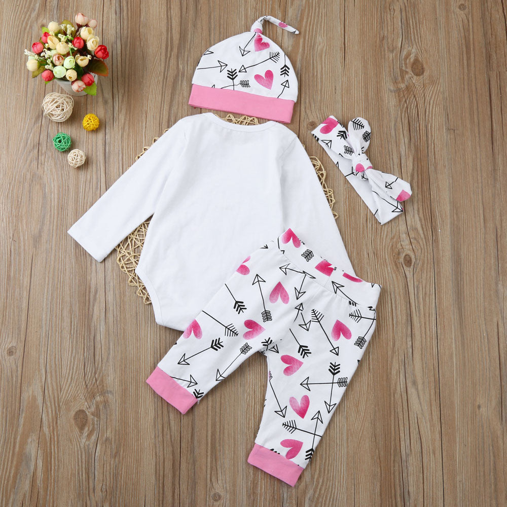2019 Newborn Baby Clothes Long Sleeve Romper+Heart Pattern Long Pant+Headband+Hat 4Pcs unisex Newborn Baby Rompers
