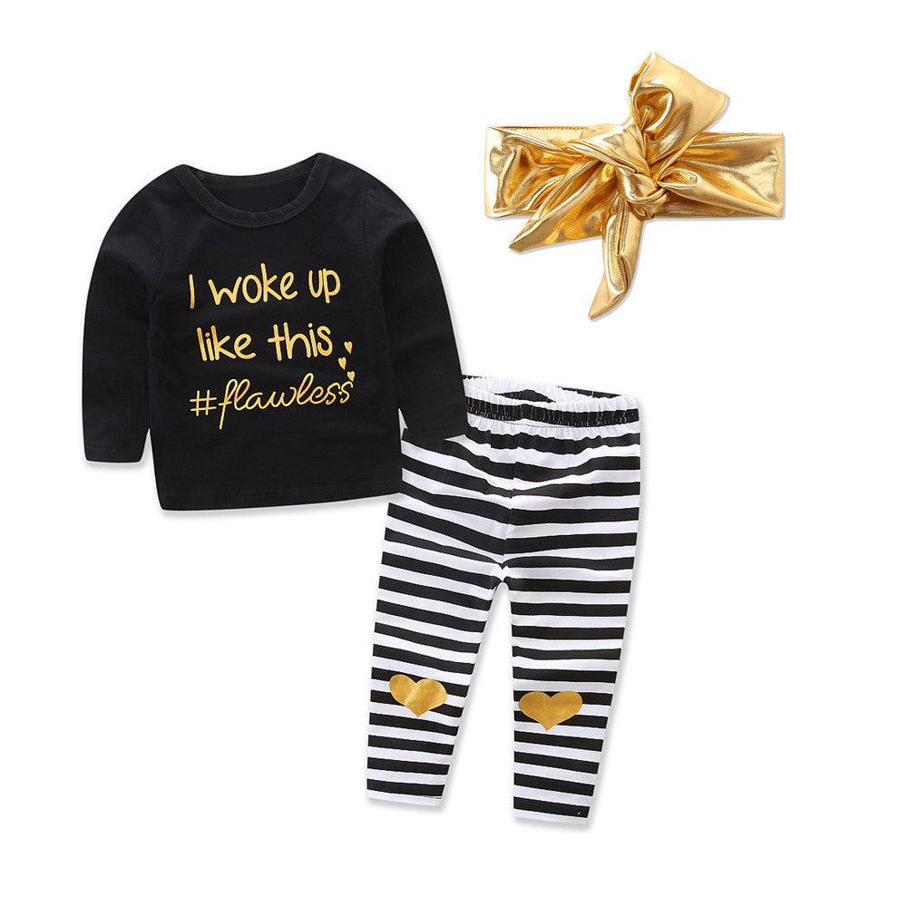 I WOKE UP LIKE THIS! #Flawless Infant Baby Girl Letter T shirt Tops+Heart Striped Pants Outfits Clothes Set