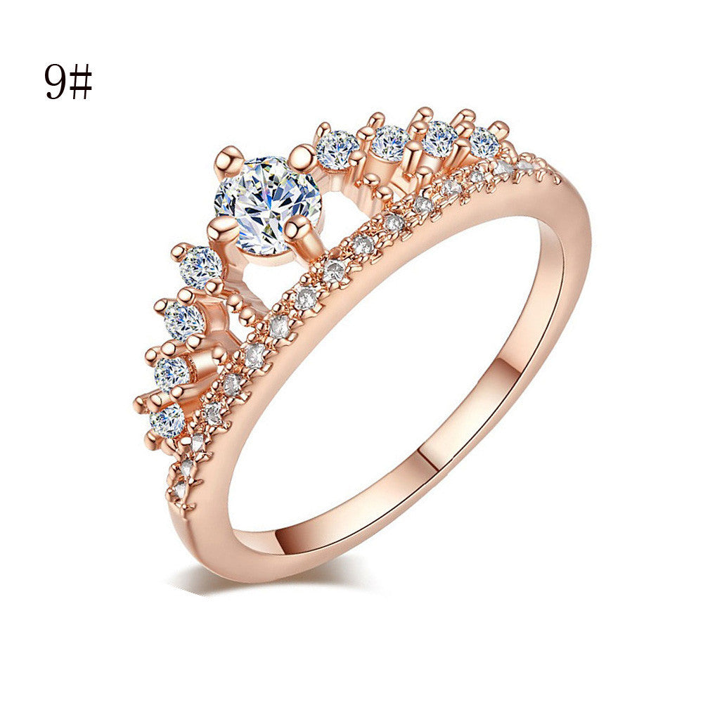 2017 New Fashion Gold Pretty Crown Lady Crystal Ring Princess Ring