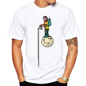 new fashion summer short sleeve cool Astronaut printed men t shirt 100% cotton comfortable casual men t-shirt 2018