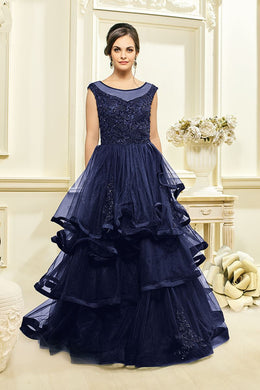 Sensational Deep Blue Mono Bridal Net Resham Hand Work With Designer Long Gown