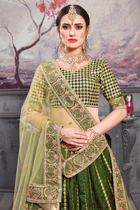 Five Star Superb Look Pine Green Thai Silk Heavy Embroidered Work With Glitzy Lahenga Choli