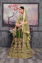 Load image into Gallery viewer, Five Star Superb Look Pine Green Thai Silk Heavy Embroidered Work With Glitzy Lahenga Choli