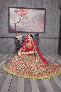 Unrivalled Chartreuse Red Phantom Silk Heavy Embroidered & Hand Work With Pjordan Lahenga Choli