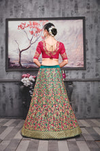 Load image into Gallery viewer, Unrivalled Chartreuse Red Phantom Silk Heavy Embroidered & Hand Work With Pjordan Lahenga Choli
