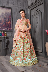 Newfangled Rust Pink Phantom Silk Heavy Embroidered & Hand Work With Admirable Lahenga Choli