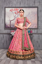 Load image into Gallery viewer, Extraordinary Rouge Pink Banarasi Silk Heavy Embroidered & Hand Work With Awesome Lahenga Choli