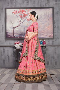 Extraordinary Rouge Pink Banarasi Silk Heavy Embroidered & Hand Work With Awesome Lahenga Choli