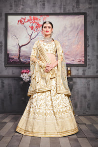Widespread Pearl White Phantom Silk Heavy Embroidered & Hand Work With Smarten Lahenga Choli