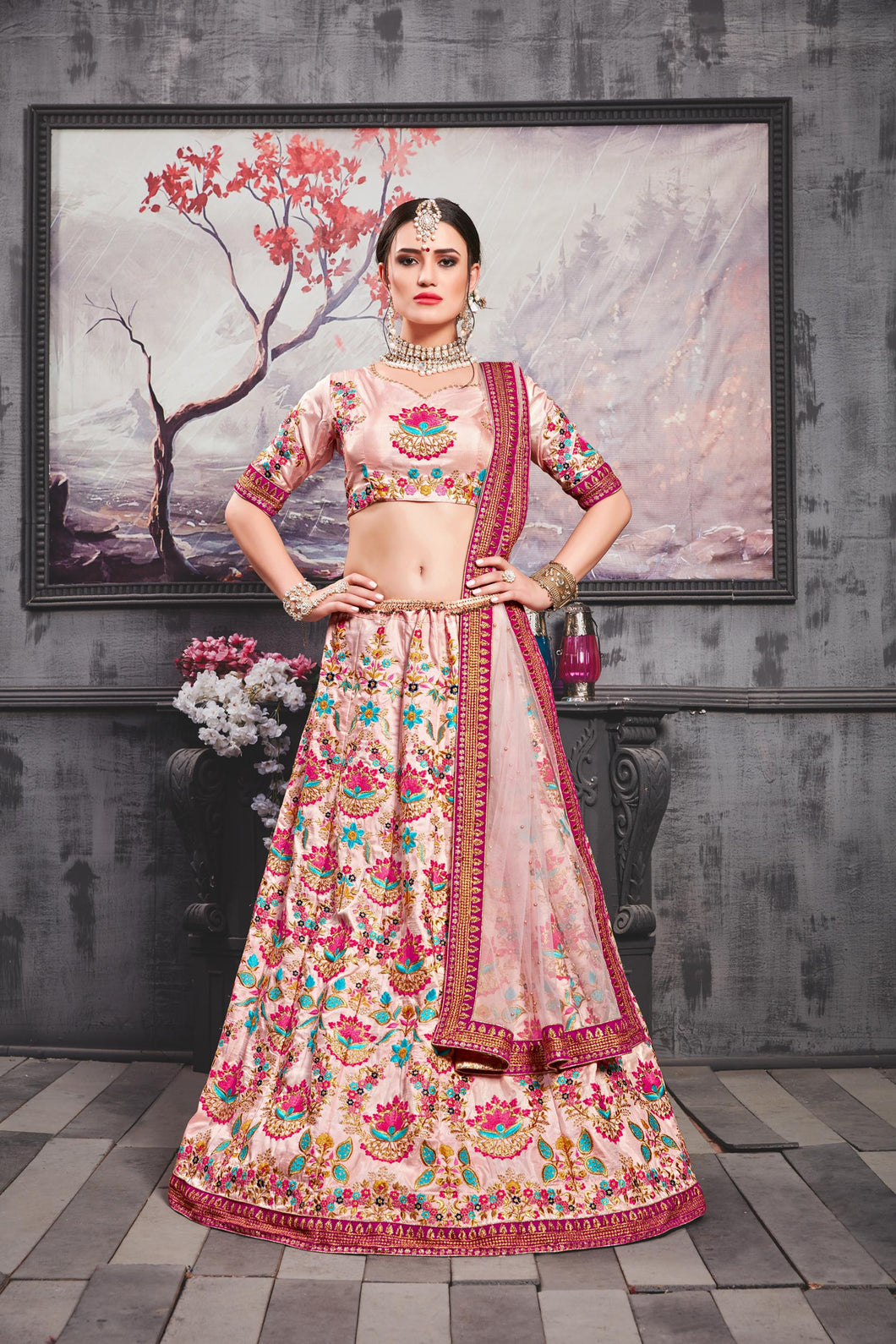 Segregate Hottest Meetha Pink Silk Heavy Embroidered & Hand Work With Peculiar Lahenga Choli