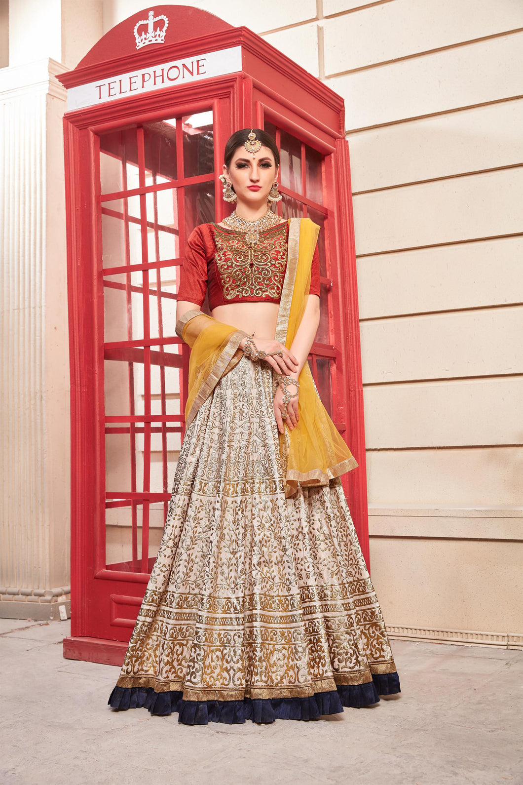 Pleasurable Powder Pink Phantom Silk Metallic Foil & Hand Work With Excellent Lahenga Choli